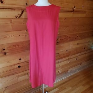 1960s Unlabeled Red Polyester/Cotton Dress